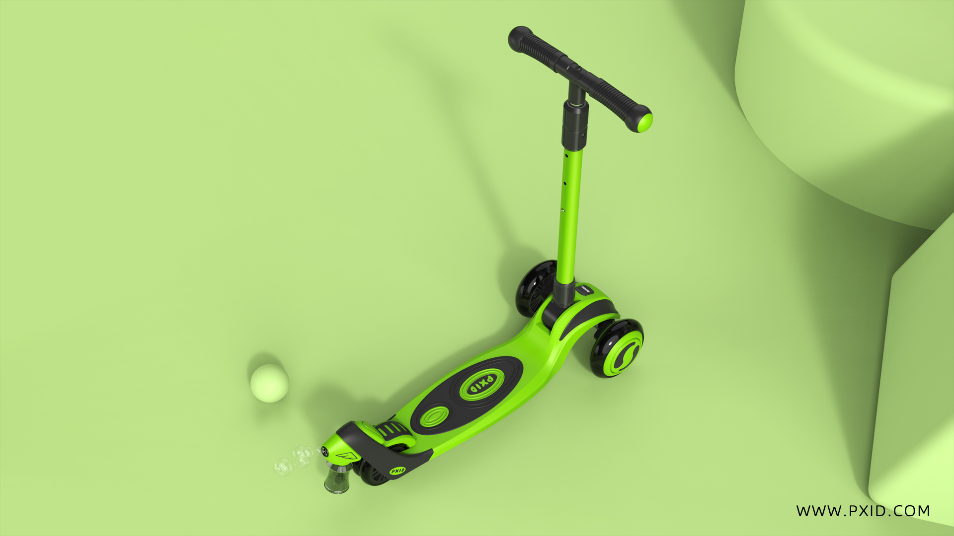 A children's scooter that can blow bubbles