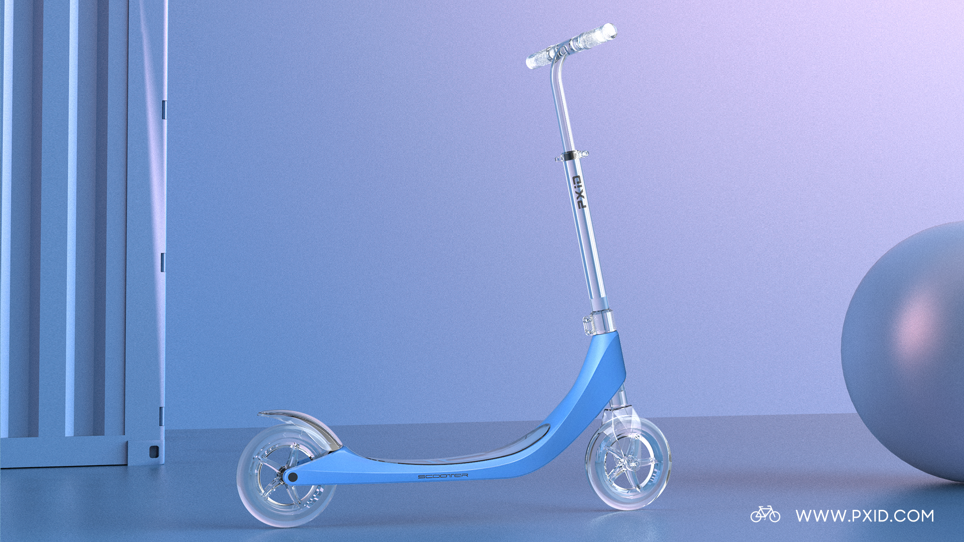PXID 200 wheel non-drive scooter design