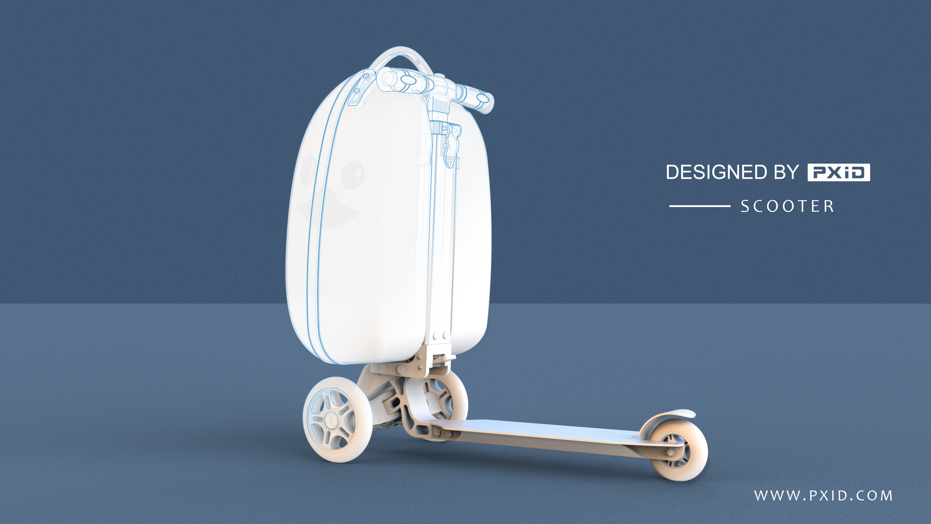 Cute kids luggage scooter design