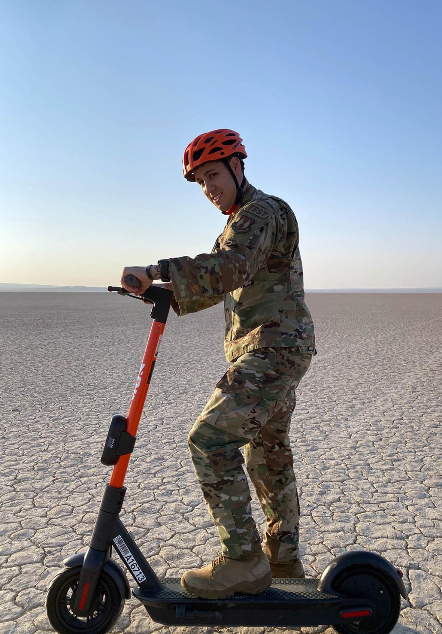 Solar-powered electric scooters have made their debut at the Edwards Air Force in California